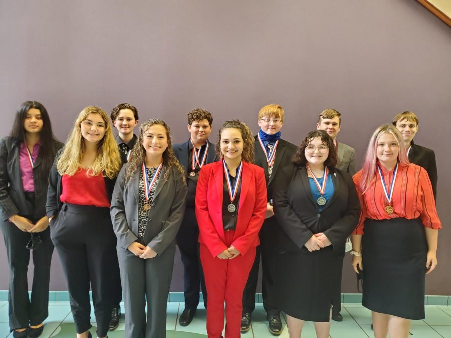 (Pictured left to right, back to front) Natasha Garcia, Willa Brackin, Eli Fowler, Derrick Jackson, Christopher Johnson, James Miranda, Cailyn Trousdale, Peyton Soto, Jessica Gutierrez, Kimberlann Gilley, and Sheridan Lucas